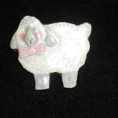 Pin Brooch Handcrafted Enamel Little Lamb White Pink Metallic Sheep CUTE Animal