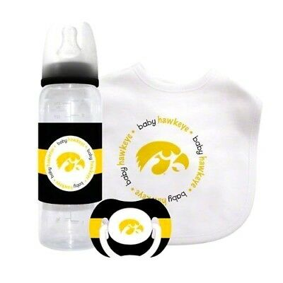 IOWA HAWKEYES BABY GIFT SET, Bib Bottle Pacifier Infant Newborn NCAA LICENSED