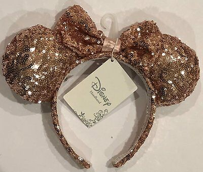 Disneyland Rose Gold Glitter Ears Disney Headband Store Exclusive Authentic