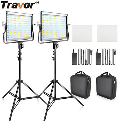 Travor 2-Pack Dimmable Bi-color 3200K-5600K LED Video Light with Light Stand Kit