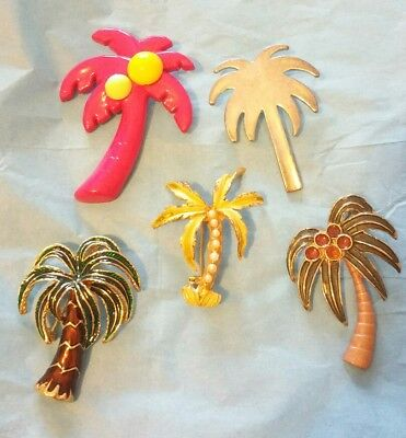Set/Lot of 5 VINTAGE Palm Tree BROOCHES Pins Faux-Pearl Enamel Lucite METAL EVC!