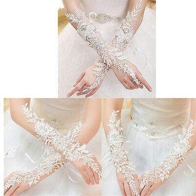 New White/Ivory Lace Long Fingerless Wedding Accessory Bridal Party Gloves FY