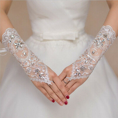 Bride White Gloves Beads Embroidery Beaded Short Weddings Dress Bridals Gloves F