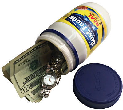 Stash Can Mayo Jar Hidden Diversion HOME SAFE Hide Cash Jewelry Secret