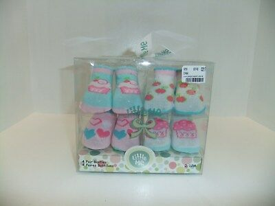 Little Me Baby Girl Bootie Socks, Size 0 - 12 Month, 4 Pair