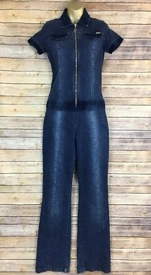 VTG Women's Karl Kani Denim Jumpsuit Blue Jean 90s Hip Hop Retro Size M EUC