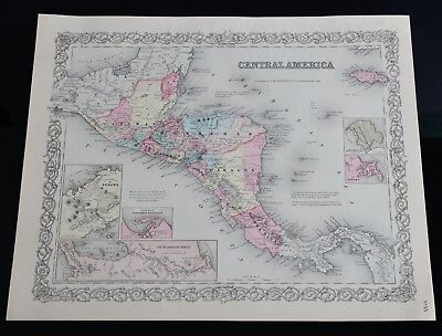 Antique J.H. Colton's 1855 Map, Central America, Fist Edition map.