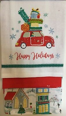 3 Kitchen Tea Towels Xmas Red Car With Gifts Christmas Village Town Church