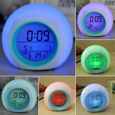 Home Bedroom Kids 7 Color LED Change Digital Glowing Alarm Clock New New