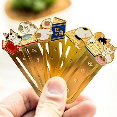 Cute Cat Reading Metal Clip Book Mark Bookmark Bookworm Reading Favor Gif New