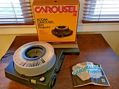 Vintage Kodak Carousel 600 Slide Projector Works Tray Box & Instructions