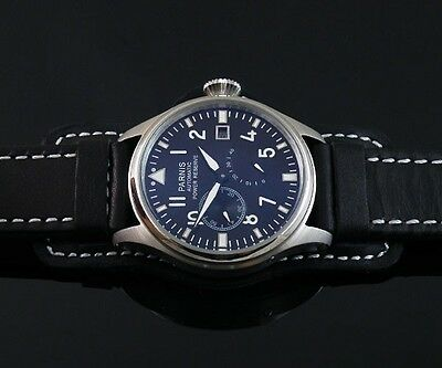 47mm Parnis Black Dial Power Reserve Chronograph Automatic Mens Watch