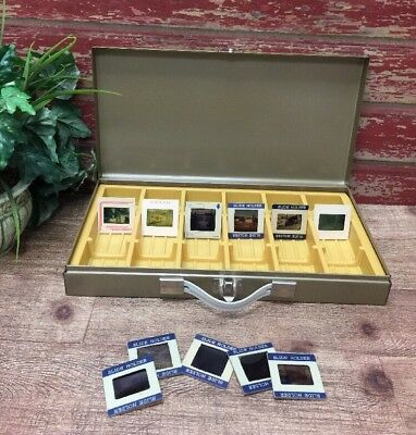 "Vintage Metal Photo Slide Coin Storage Box 14.5 x 7.5 x 2"" With 11 Old Slides"