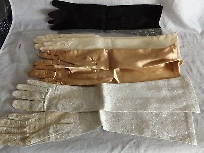 Lot 4 Pairs Ladies 1960s Vintage Long Gloves ~ Malta, Italy, Formal, Burlesque