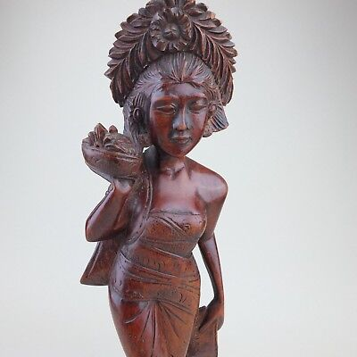 Vintage Dark Wooden Balinese Carved Statue Of Woman Wearing Traditional Dress