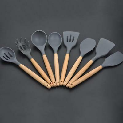 1pcs Kitchen Utensils Wooden Handle Silicone Cookware Set For Kitchen