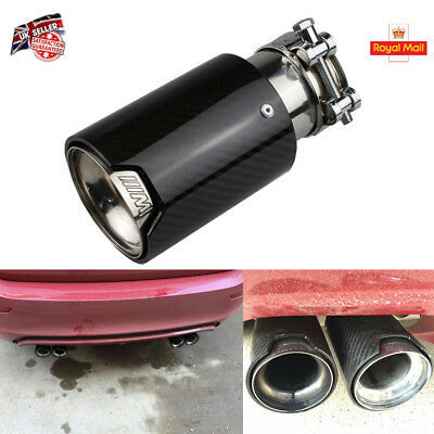 1X Universal Exhaust Muffler Silencer Pipe Tip For BMW  /// M Carbon Fiber Black