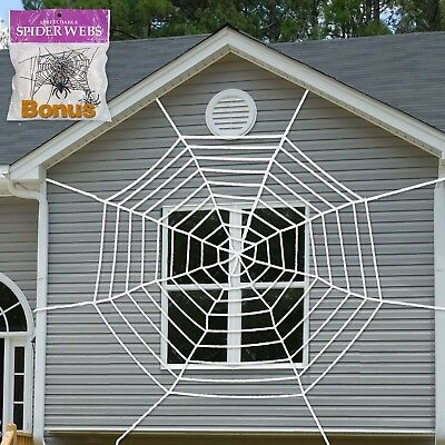 9 Ft Giant Spider Web with Super Stretch Cobweb Halloween Decoration set outdoor