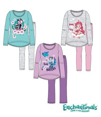 Girls Children Enchantimals Long Sleeve Pyjamas Pjs Set Age 2-8 yrs New 2018/19