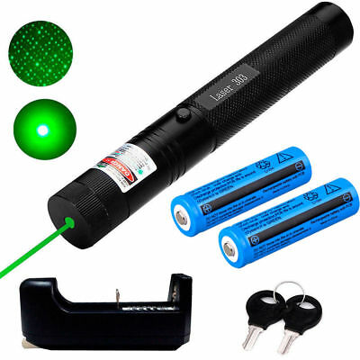 10 Miles 532nm 5mw 303 Green Laser Pointers Lazer Pen Beam Light+2*18650+Charger
