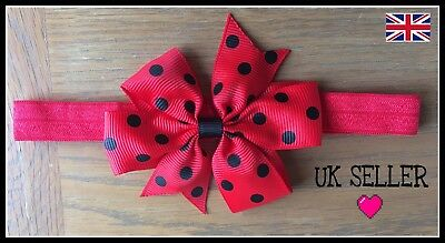 Head Band Hair Bow Elastic Baby Infant Accessories Cute Polka Party UK SELLER