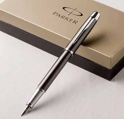 PARKER IM GUNMETAL FOUNTAIN PEN WITH CHROME TRIM With 5 Ink Cartridges (No Box)