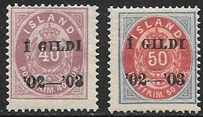 ICELAND 1902-03 Overprint Issues Mint Never Hinged - Perf. 14x13.5  (Jul 026)