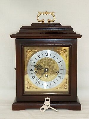 Beautiful, Hermle 8 Day Dark Cased Westminster Bracket Mantel Mantle Chime Clock