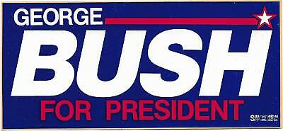 Vintage George Bush For President Bumper Sticker  New Old Stock