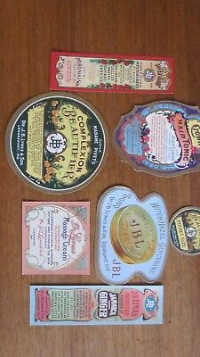 Collection of vintage turn of the century unused beauty product labels.