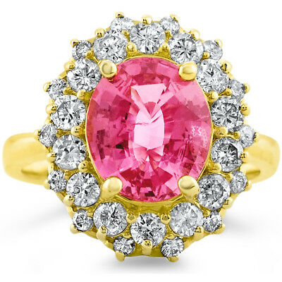 Certified 3.64cttw Pink Spinel 1.23cttw Diamond 14KT yellow  Gold Ring