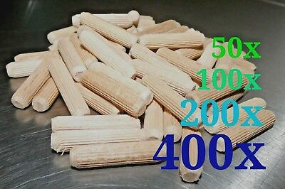 "50-400 Beech wood dowels pins 5/16""(8mm) x 1 3/8""(35mm) mushroom plugs"