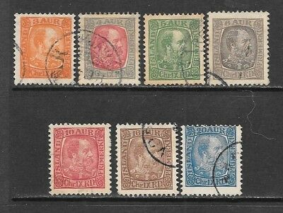 ICELAND 1902-04 Christian IX Wonderful Used Issues Selection  (Jul 027)