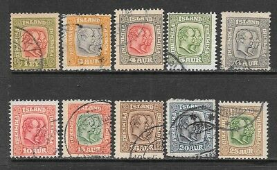 ICELAND 1907-08 Double Kings Used Issues Selection Watermark Crown (Jul 028)