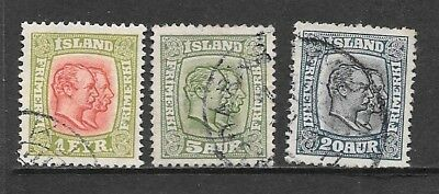 ICELAND 1915-18 Double Kings Used Issues Selection Watermark Crosses (Jul 029)