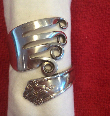 Set of 4 Napkin Rings made from Vintage Silverplated Forks -Rogers Bros & others