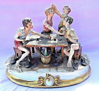 "HUGE VINTAGE SIGNED CAPODIMONTE FIGURINE "" CHEATS "" 17"" L x 12"" W x 14"" TALL"