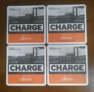 Elbow Charge Marstons Brewery Pale Ale x4 Beer Mat/coaster Guy Garvey