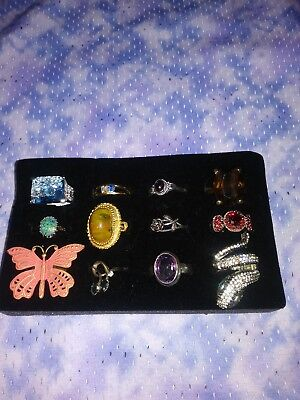 Lot Of 12 Mixed Vintage & Modern Collection Of Rings Some Sterling Silver