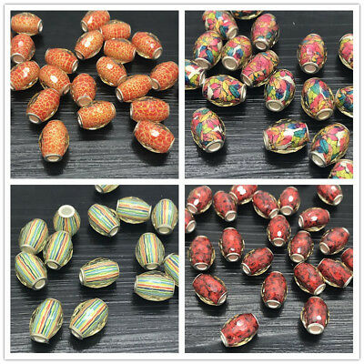 DIY 15mm Faceted Oval Rugby Beads Pearl Spacer Clear Loose Beads Jewelry Making