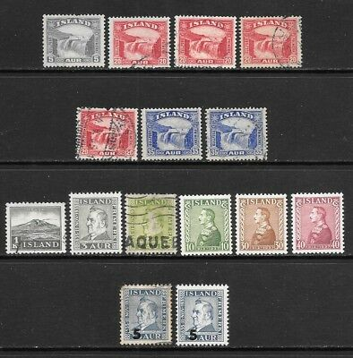 ICELAND 1931-39 Mint Never Hinged and Used Issues Selection (Jul 032)