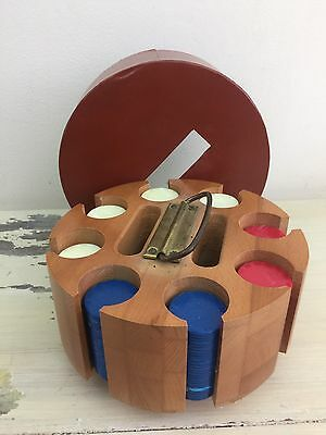 ANTIQUE POKER CHIP CADDY - Vtg Wood Round Carousel, Blue Red White Chips