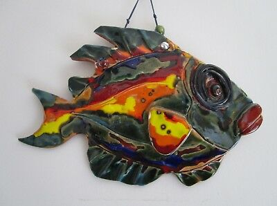 Ceramic Fish Wall Plaque - Hand Made Sintra Art Pottery 29 X 21 cms.