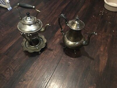 """ANTIQUE VINTAGE """"SILVER ON COPPER"""" COFFEE/TEA Set As Seen Not Complete"""