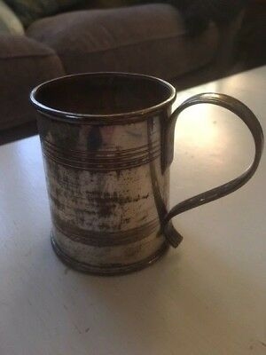 small silver metal antique collectable christening mug