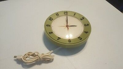 Vintage round Lux kitchen wall clock avocado green olive green