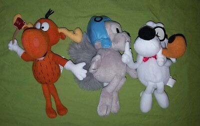 Rocky & Bullwinkle Mr Peabody Dog Plush Toy Lot Stuffins 1999