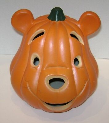 "Winnie The Pooh Head Or Face Halloween Blow Mold Lights Up Works 9 1/2"" Tall"