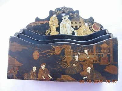 Antique Japanese black lacquer letter rack with gold decorations