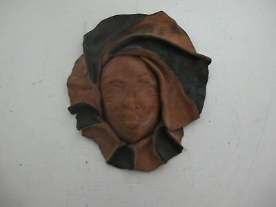 Vintage Real Leather Face Mask Wall Hanging Art Decor